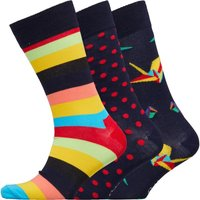 Happy Socks Mens Three Pack Socks Blue/Geo/Polka Dot