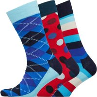 Happy Socks Mens Three Pack Socks Stripes/Red Spots/Blue Argyle