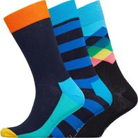 Happy Socks Mens Three Pack Socks Stripes/Geo/Colour Block