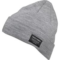 JACK AND JONES Mens DNA Beanie Grey Melange