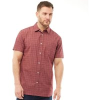 Kangaroo Poo Mens Yarn Dyed Short Sleeve Shirt Burgundy