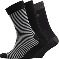 French Connection Mens FC Three Pack Socks Stripe Black/Charcoal