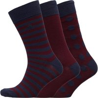 French Connection Mens FC Three Pack Socks Dot Marine/Chateaux