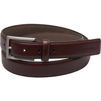 French Connection Mens Brushed Nickel Buckle Leather Belt Brown