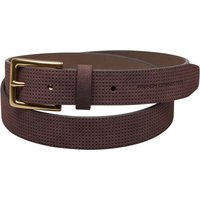 French Connection Mens Perforated Leather Belt Dark Brown