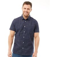 Onfire Mens Yarn Dyed Short Sleeve Shirt Navy