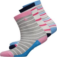 Original Penguin Girls Three Pack Socks Mixed Stripe Pink Mix
