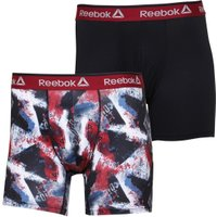 Reebok Mens Charlie Performance Two Pack Medium Trunks Red/Black Graphic Print/Black