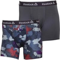 Reebok Mens Ivan Performance Two Pack Medium Trunks Smoky Volcano Camo/Coal Plain