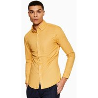 Mens Yellow Ochre Stretch Skinny Oxford Shirt, Yellow