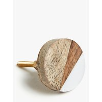 John Lewis & Partners Round Wood Cupboard Knob, Natural