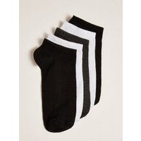Mens White Assorted Colour Trainers Socks 5 Pack, White