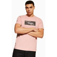 Mens Pink Essential Print T-Shirt, Pink
