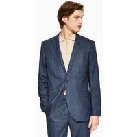 Mens Navy Windowpane Slim Blazer, Navy