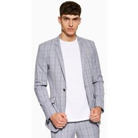 Mens Blue Check Super Skinny Blazer, Blue