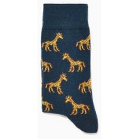 Mens Navy Giraffe Socks, Navy