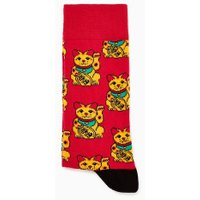 Mens Red Lucky Cat Socks, Red