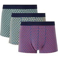 John Lewis & Partners Hare Print Trunks, Pack of 3, Navy/Yellow/Red