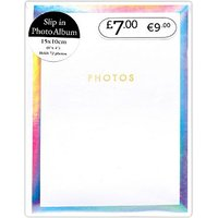 White Iridescent Square 72 Pocket Photo Album - 6x4