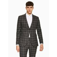 Mens Grey Charcoal Windowpane Skinny Blazer, Grey