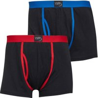 Kangaroo Poo Mens Two Pack Boxer Shorts Black/Royal