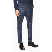 Mens Navy Windowpane Skinny Trousers, Navy