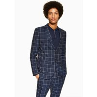 Mens Navy Windowpane Skinny Blazer, Navy