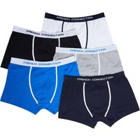 French Connection Mens Plus Size Five Pack FC Boxers Black/Grey/White/Prince/Marine