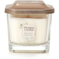 Yankee Candle Elevation Collection With Platform Lid Sheer Linen Small 1-Wick Square Candle