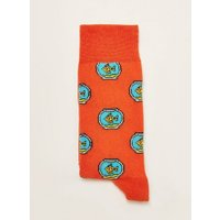 Mens Orange Gold Fish Socks, Orange