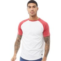 Fluid Mens Raglan Sleeve T-Shirt White/Red Marl