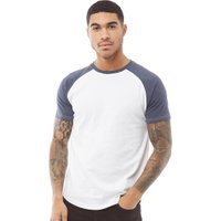 Fluid Mens Raglan Sleeve T-Shirt White/Navy Marl