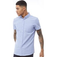 Fluid Mens Cotton Oxford Short Sleeve Shirt Blue
