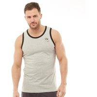 Kangaroo Poo Mens Vest With Chest Print Grey Marl/Black