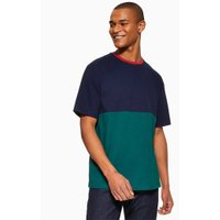 Mens Navy And Green Colour Block T-Shirt, Navy