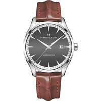 Hamilton H32451581 Men's Jazzmaster Date Leather Strap Watch, Brown/Charcoal