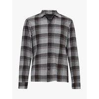 AllSaints Danby Long Sleeve Check Shirt, Black/Ecru White