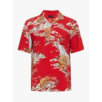 AllSaints Indo Short Sleeve Printed Shirt, Red