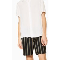 Mens Black And Mustard Stripe Pull On Shorts, Black