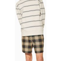 Mens Navy Green, Red And Stone Check Pull On Shorts, Navy