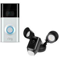 RING LIGHT Floodlight Cam & Video Doorbell 2 Bundle - Black & Silver, Black