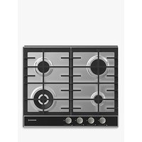 Hoover HHG6BF4WVX 60cm Gas Hob, Stainless Steel/Black
