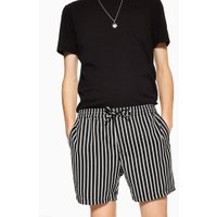 Mens Black And White Stripe Pull On Shorts, Black