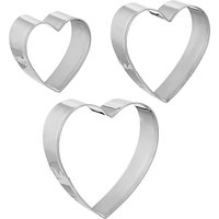 John Lewis & Partners Stainless Steel Heart Cookie Cutters, Set of 3