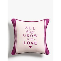 John Lewis & Partners 'All Things Grow With Love' Showerproof Outdoor Cushion, 43cm, Purple