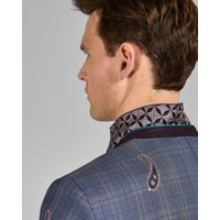 Embroidered Check Wool Suit Jacket