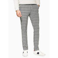 Mens Black And White Check Trousers, Black