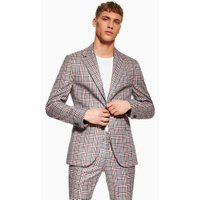 Mens Grey Navy And Red Check Super Skinny Blazer, Grey