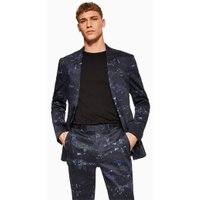 Mens Red Navy Digi Print Skinny Blazer, Red