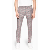 Mens Grey Navy And Red Check Super Skinny Trousers, Grey